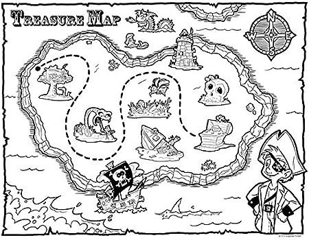 Guajolote Prints Foglio Da Colorare Con Mappa Del Tesoro Del Pirata Da Festa 21 6 Cm X 27 9 Cm Confezione Da 12 Amazon It Casa E Cucina