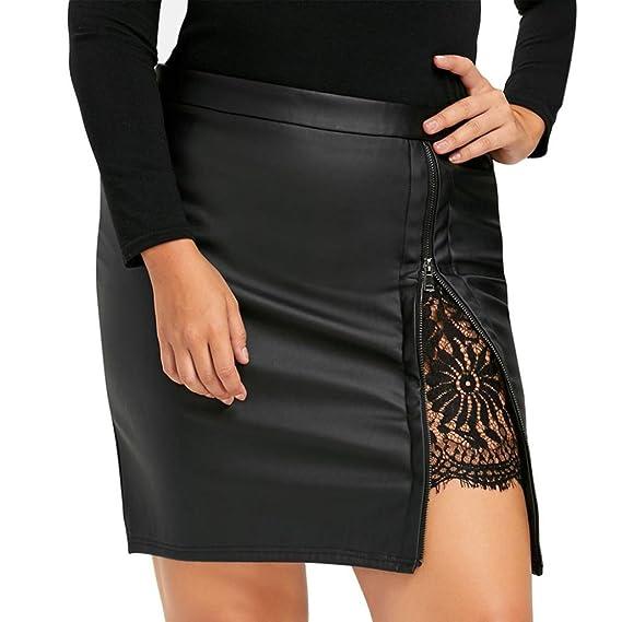 Faldas de Cuero Artificial Mujer, Sannysis Falda Plisada Uniforme ...