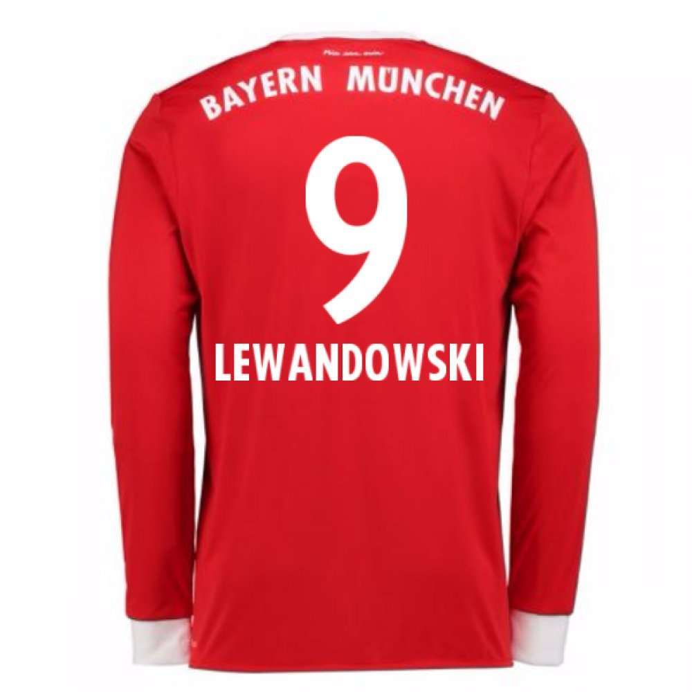 2017-18 Bayern Munich Home Long Sleeve Football Soccer T-Shirt Trikot (Robert Lewandowski 9)