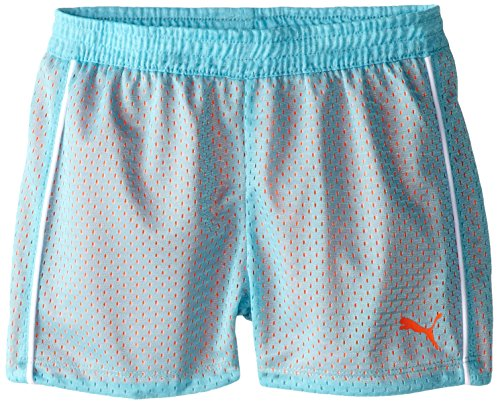 PUMA Little Girls' Active Double Mesh Short, Faster Blue, 5 (Little Girls Short)