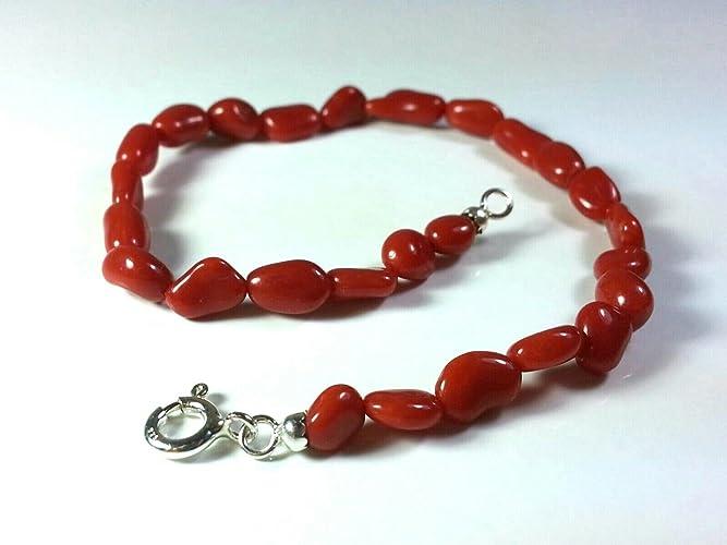 nuovo di zecca a8a56 61d17 Bracciale corallo donna uomo sassolini in corallo rosso ...