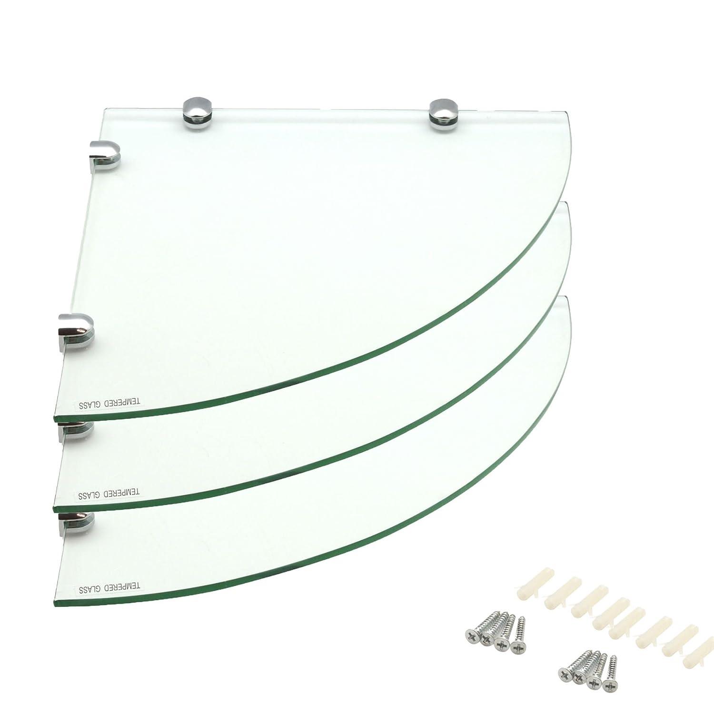 Glass Corner Bathroom / Bedroom Shelf - 300x300mm - Pack of 3 Harbour Housewares