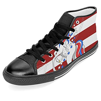 1dc4814668f13 Amazon.com: American Flag Patriotic Unicorn Unisex High Top Classic ...