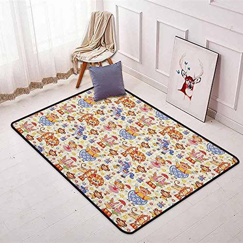 Kids Non-Slip Absorbent Carpet Carnival Circus Theme with Cheerful Mascots Monkey Lion Bunny Acrobat Girl and Clown for Floor Carpets W47.2 x L71 Inch Multicolor ()