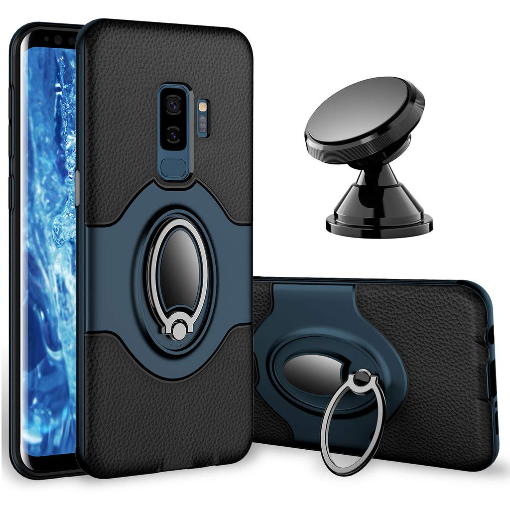 Samsung Galaxy S9 Plus Case - eSamcore Ring Holder Kickstand Cases + Dashboard Magnetic Phone Car Mount [Navy Blue]