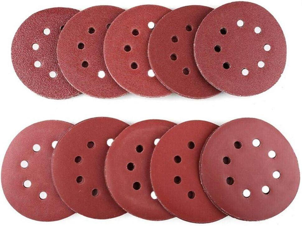 10 Pcs Dry Sanding Discs 125mm 5 inch Hook /& Loop 8 Hole Sandpaper 40 Grit
