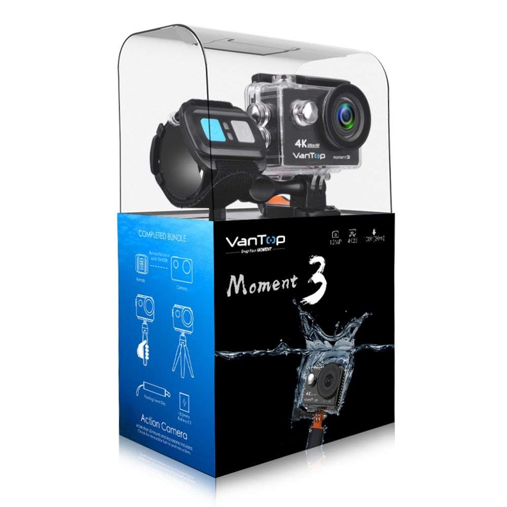 VanTop Moment 3 4K Sports Action Camera with 29 GoPro Compatible  Accessories Bundle, HD 4K WiFi Waterproof DV Camcorder, 12MP 170 Degree  Wide Angle