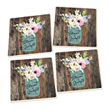 Blessed & Grateful Floral Mason Jar Wood Look Set of 4 Ceramic Coaster Pack