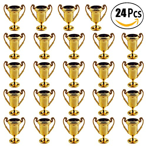 - Plastic Trophies – 24 Pack 2.2 Inch Cup Golden Trophies For Children, Competitions, Awards, Parties, Party favors, Props, Rewards, Prizes, Games, School, Field Day, Boys And Girls