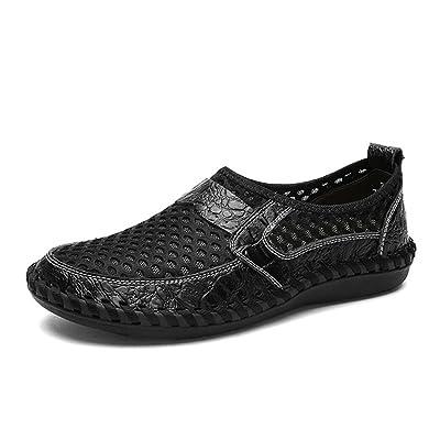 reputable site 91466 90af6 Été Respirant Mesh Chaussures Mens Casual Chaussures Véritable Slip En Cuir  Sur La Mode D