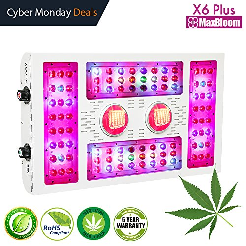 LED grow light dimmable led grow light COB full spectrum for indoor plants veg and flower 12-band UV&IR MaxBloom high yield 600W X6 Plus led grow lights for marijuana (the 8th Generation) by MaxBloom