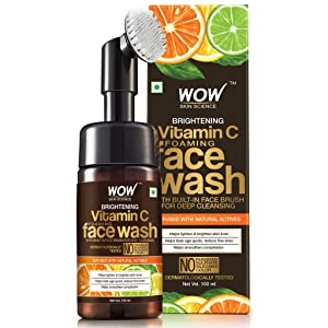 WOW Vitamin C Exfoliating Face Wash With Brush - Soft, Silicones Bristles - Foaming Cleanser For All Skin Type - Hydrate For Smooth Skin, Helps Remove Blackheads & Reduce Acne Breakout - 100ml