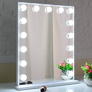 Hollywood Lighted Makeup Mirror with Lights,LED Lighted Mirror with 15pcs Dimmable Bulbs,Tabletop or Wall Mounted Dressing Illuminated Beauty Mirror Touch Control and Plug in BEAUTME (White)