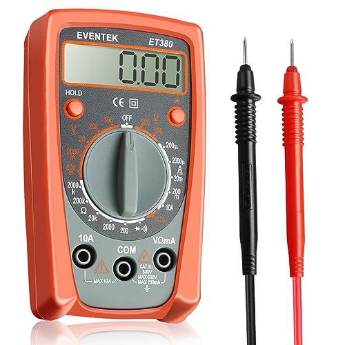 Multimeter, Eventek ET380 Digital Multimeter Manual Ranging Multi Tester with Backlight Measure DC Current, AC/DC Voltage, Resistance, Continuity, Diode