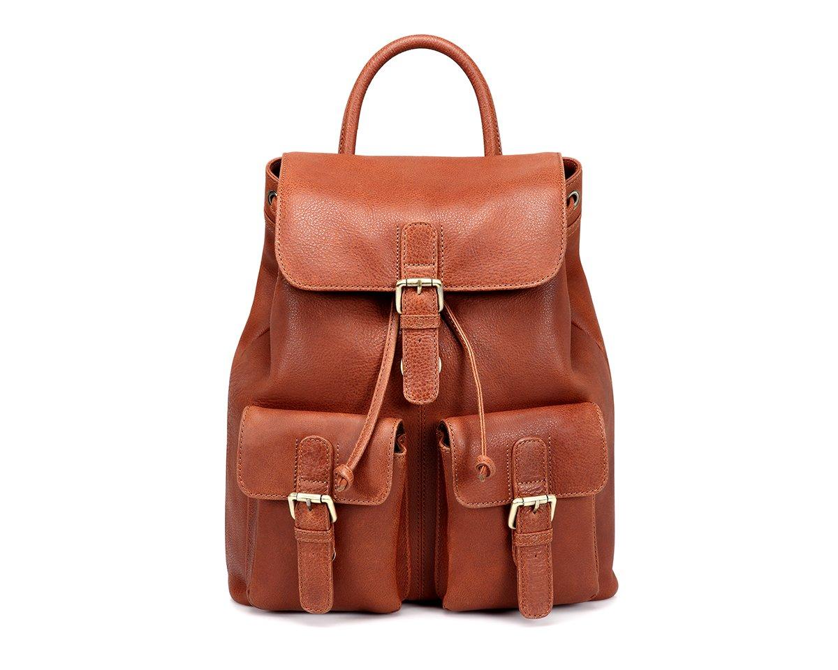 TheCultured Leather Front Pocket Backpack Shoulder Bag in Tan by LederMann (Image #5)