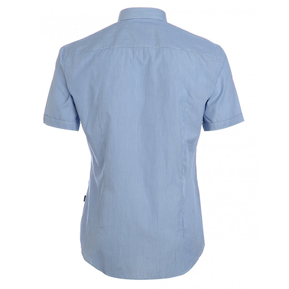 a1c05e4f2 BOSS Hugo Black Shirt, Blue Micro Stripe Slim Fit 'Marco-2' Shirt:  Amazon.co.uk: Clothing
