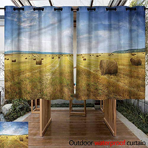 Sunnyhome Outdoor Curtains Tuscany Stack of Straws on Mown Waterproof Patio Door Panel W 55