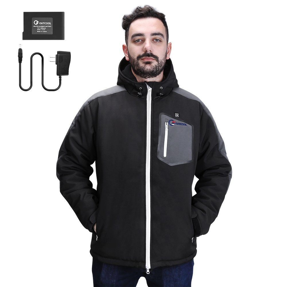 OUTCOOL Men's Soft Shell Heated Jacket Kit With Hood Waterproof Windproof Winter Jacket(XXL)