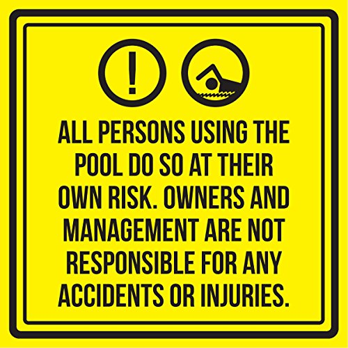 iCandy Products Inc All Persons Using The Pool Do So at Their Own Risk. Spa Warning Square Sign, Plastic - Inch, ()