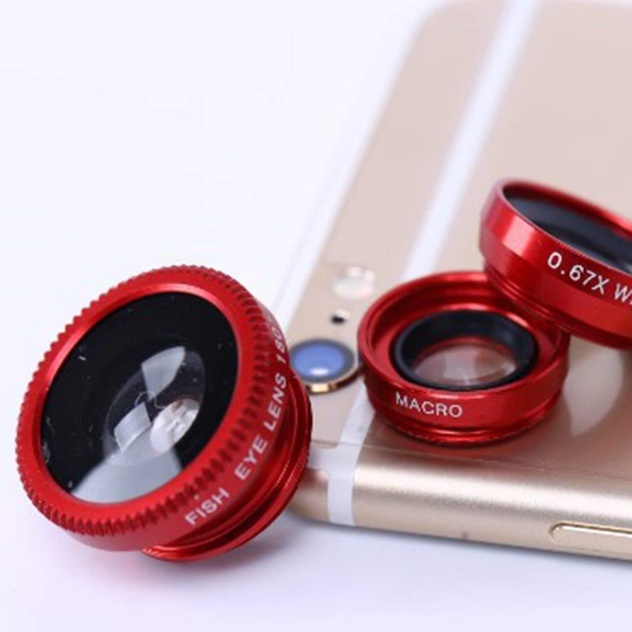 Mobile Phone Camera Lens Kit Fish Eye Lens Macro Lens Super Wide Angle Lens(Color:Gold) WOSOSYEYO