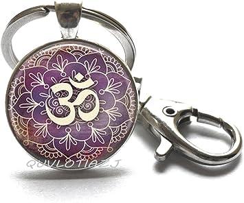 Lotus Flower Purple Pendant Silver Necklace Yoga