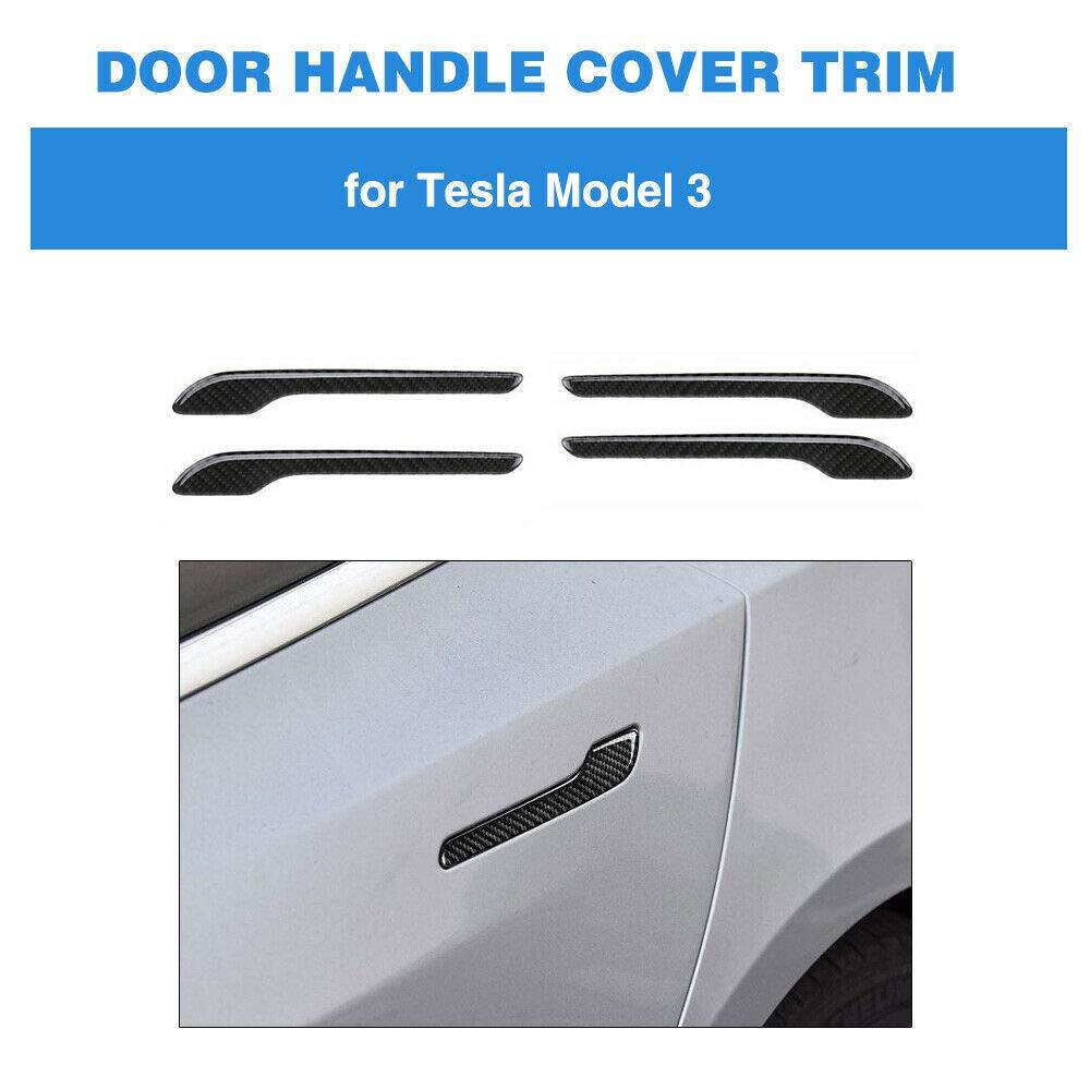FairOnly 4pcs Carbon Fiber Outer Door Handle Cover Bumper Trim For Tesla Model 3 Convenient Life