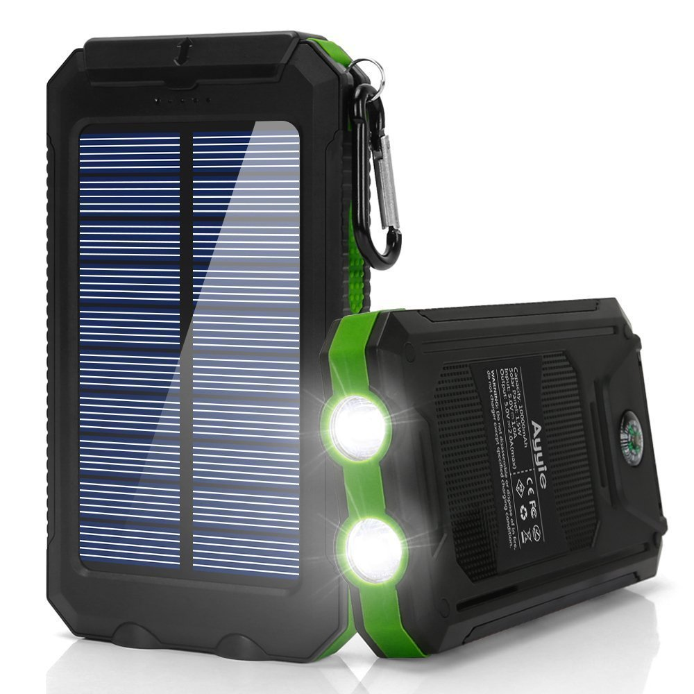 Ayyie Solar Charger,10000mAh Solar Power Bank Portable External Backup Battery Pack Dual USB Solar Phone Charger with 2LED Light Carabiner and Compass for Your Smartphones and More (Green)