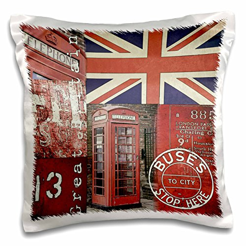 3dRose Andrea Haase Art Illustration - Mixed Media Illustration Great Britain With Union Jack Flag - 16x16 inch Pillow Case (Art Union Jack Flag T-shirt)