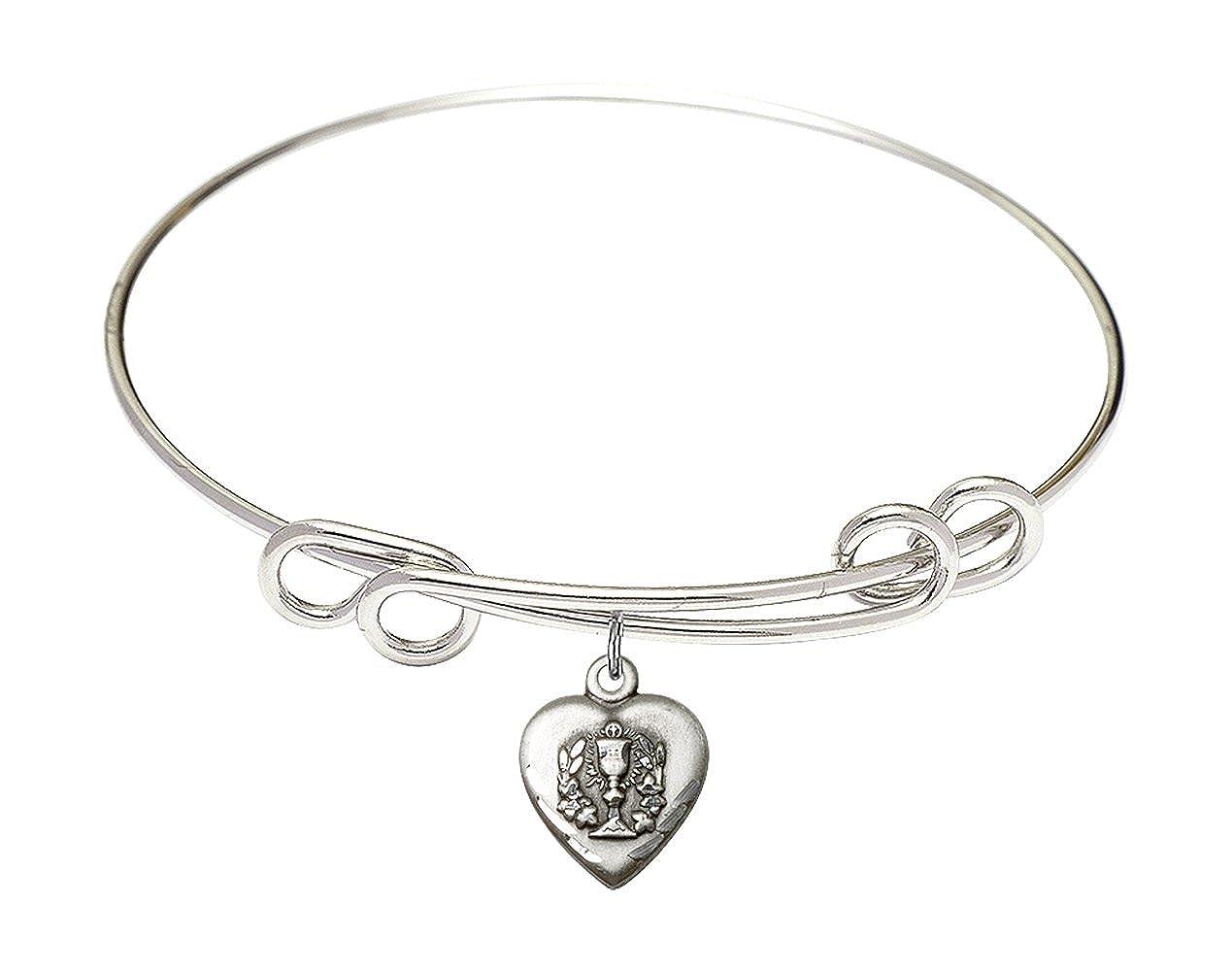DiamondJewelryNY Double Loop Bangle Bracelet with a Holy Communion Charm.