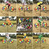 Delight eShop 3D Animal on Bike Windmill Wind Spinner Whirligig Lawn Yard Garden Home Decor (Bullfrog)