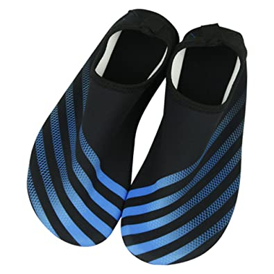 Women/Men Adult Stripe Water Skin Shoes Aqua Socks for Beach Swim Pool