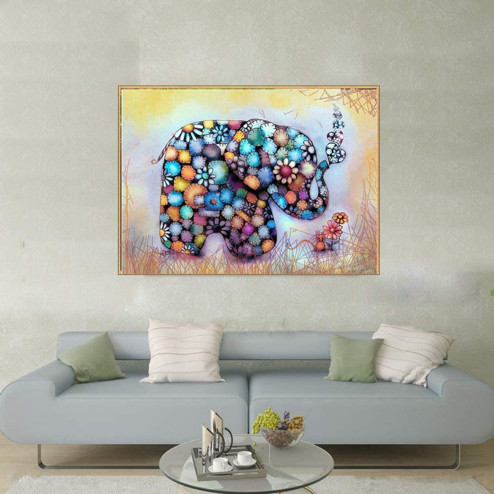 YY lin 5d Diamond Painting Full Drill Cute Animal Painting Cross Stitch Full Drill Crystal Rhinestone Embroidery Pictures Arts Craft for Home Wall Decor Gift 40x30 Elephant