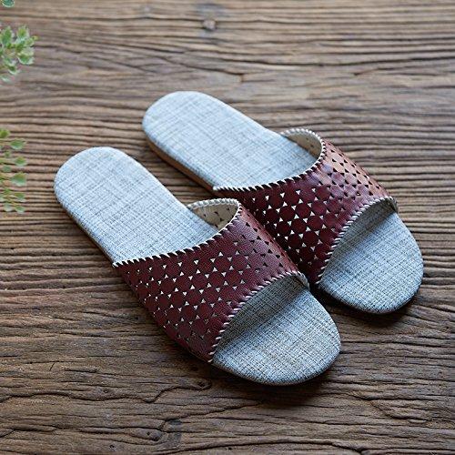 Zapatillas de los amantes de la ropa, casa, interior Piso zapatillas,40 y 41 amarillo 42 - 43 Rojo café