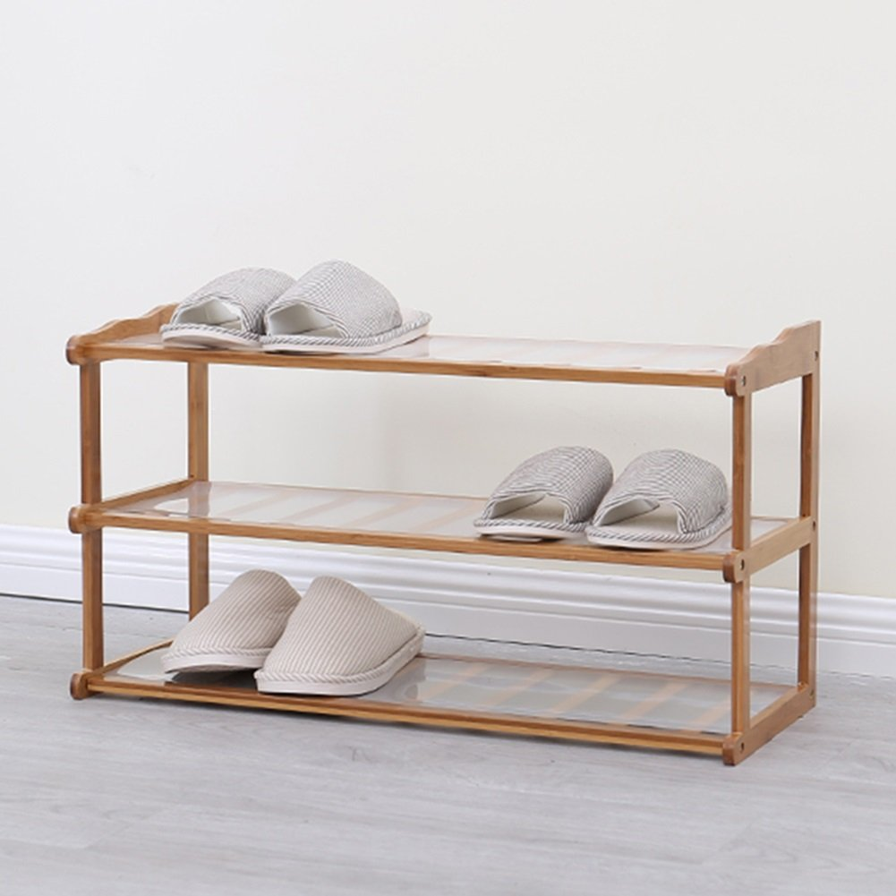Shoes rack Bamboo 3 Layers Bedroom Hotel Balcony Simple Dust-proof Storage Shoebox (Size : 50cm-length)