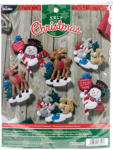 BUCILLA 86723 Felt Applique Ornaments Kit Santa Stop Here, Set of 6 by Bucilla
