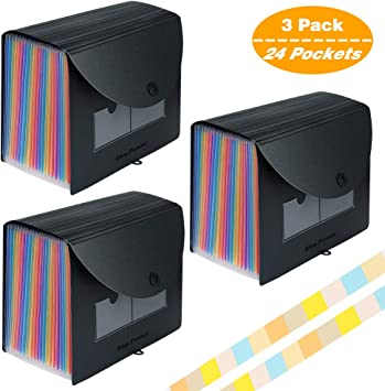 Expanding Accordian Organizer File Folders Letter Size 25 Pack AMZ300