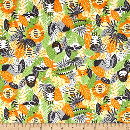 CAMELOT Fabrics Printed Flannel Jungle Animals Orange Fabric by The Yard, ()