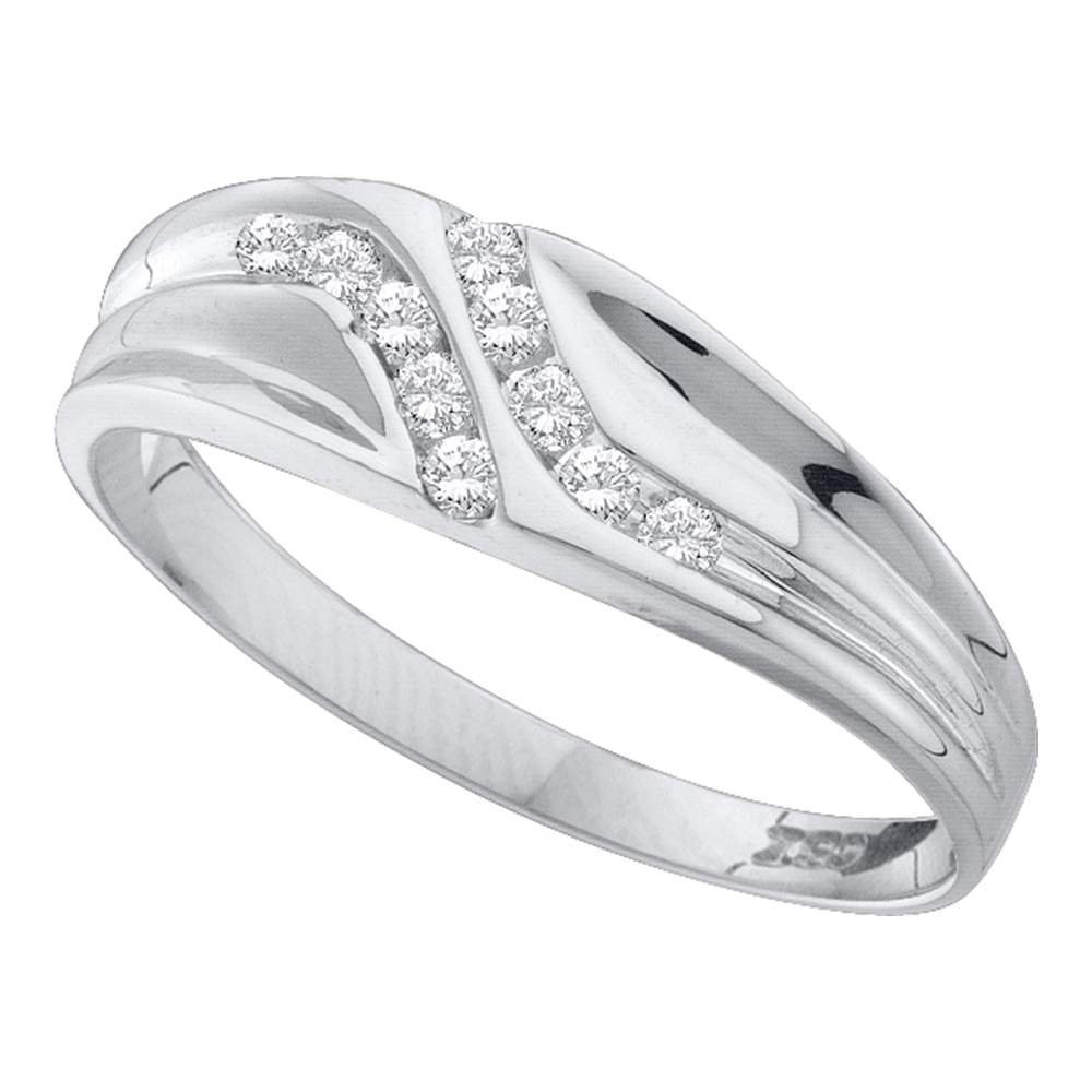 GemApex Mens Diamond Wedding Band Solid 14k White Gold Ring Two Row Round Polished Finish Fancy 1//8 ctw
