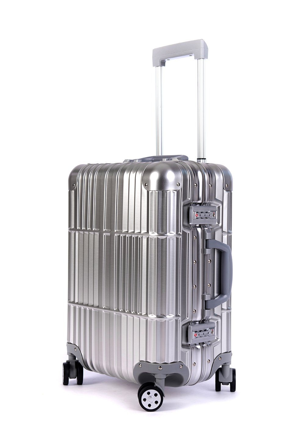 Cloud 9 - All Aluminum Luxury Hard Case Carry-On 20'' Durable with 360 Degree 4 Wheel Spinner TSA Approved (FULL ALUMINUM) by Newbee Fashion