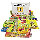 Sour Candy Assortment Gift Box with Warheads Extreme Sour Hard Candy, Toxic Waste, Sour Patch Kids, Sour Power Belts, Airheads Xtreme Bites, Sour Brite Blasts, Pop Rocks Dip, Warhead Twists and more