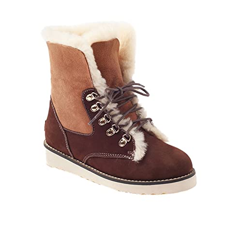 f67be47bff8 OZWEAR UGG Australia Women Flat Heel Lace-up Fur Snow Flat Boots ...
