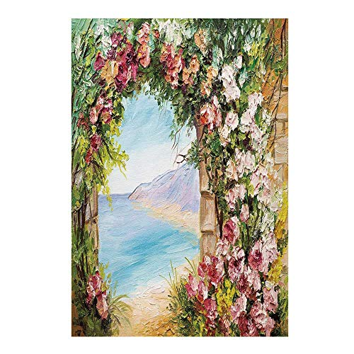 - Art Stylish Backdrop,Old Antique Arch Covered by Rose Petals Branches Romantic Italian Panorama Sea Print Decorative for Photography,59