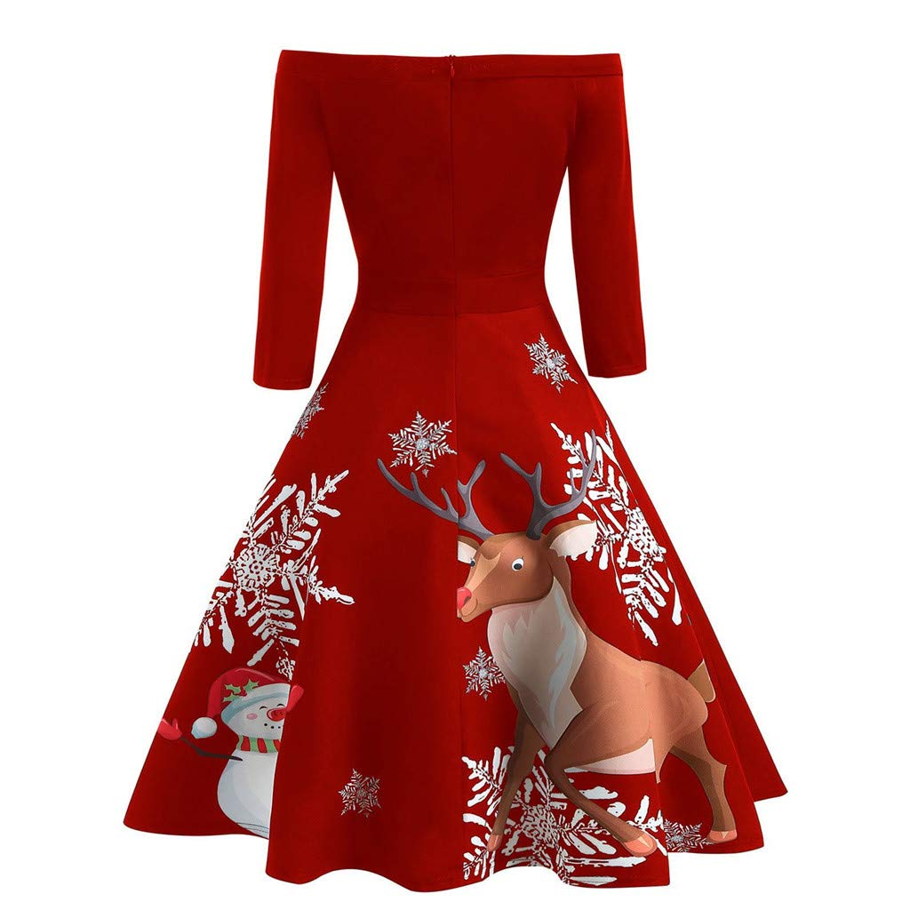 iSkylie Christmas Party Cocktail Dress Women Off Shoulder Print Vintage Evening Party Dress Flare Dress(S,Red)