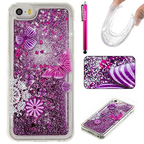iPhone 5S / iPhone SE Case, Firefish Glitter Liquid Cover Slim Soft TPU Rubber Silicone Case Impact Resistant Durable Protective Case for Apple iPhone 5 5S SE -Butterfly ()