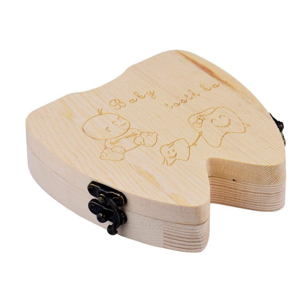 Ogquaton Organizador de Caja de Dientes para Dientes de Leche para beb/és Guardar Caja de Dientes de Almacenamiento de Madera Caja de Dientes para beb/és Caja de colecci/ón