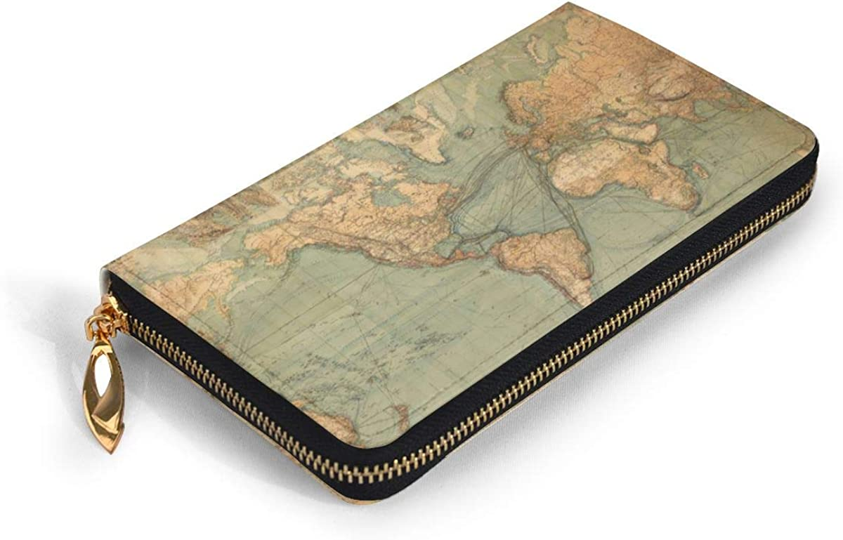 Retro World Map Womens RFID Blocking Zip Around Wallet Genuine Leather Clutch Long Card Holder Organizer Wallets Large Travel Purse