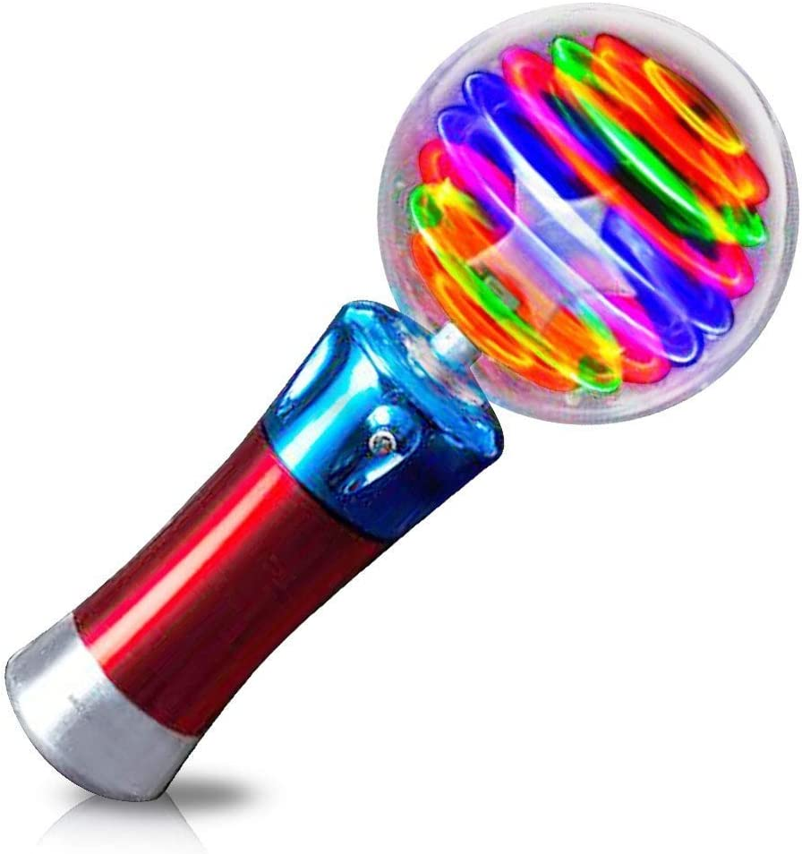 2 Light-Up Spinning Star Wand Princess LED Rave Toy Stick Flashing Wizard Ball