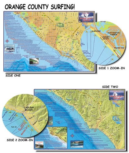 (Franko's Maps, Franko's Surf Maps, Surf Maps, Surfing Maps, Orange County Surfing, OC Surf, Surf Spots, Authorized Dealer Full Warranty, Orange Surfing, Fold-Up)