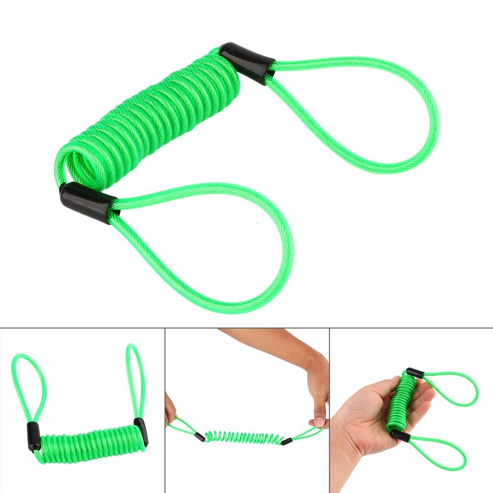 Lock Reminder Cable Green Waterproof Disc Lock Security Reminder Cable Scooter Bike Motorbike Anti Thief Safe for Scooter Motorcycle Bike Brake Disc Motorcycle Alarm Spring Reminder Cable