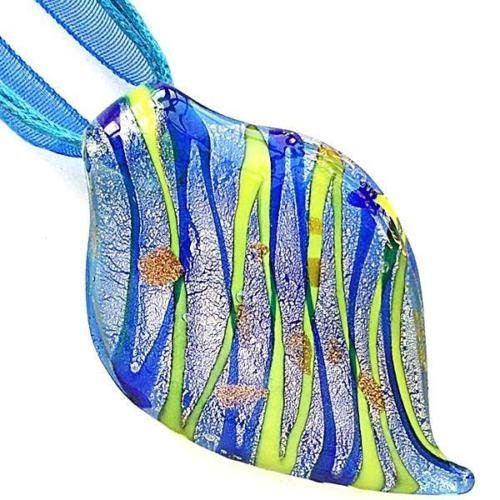 Glass Beads Leaf Pendant Necklace - Gold Blue Leaf Handmade Lampwork Glass Murano Bead Pendant Ribbon Cord Necklace